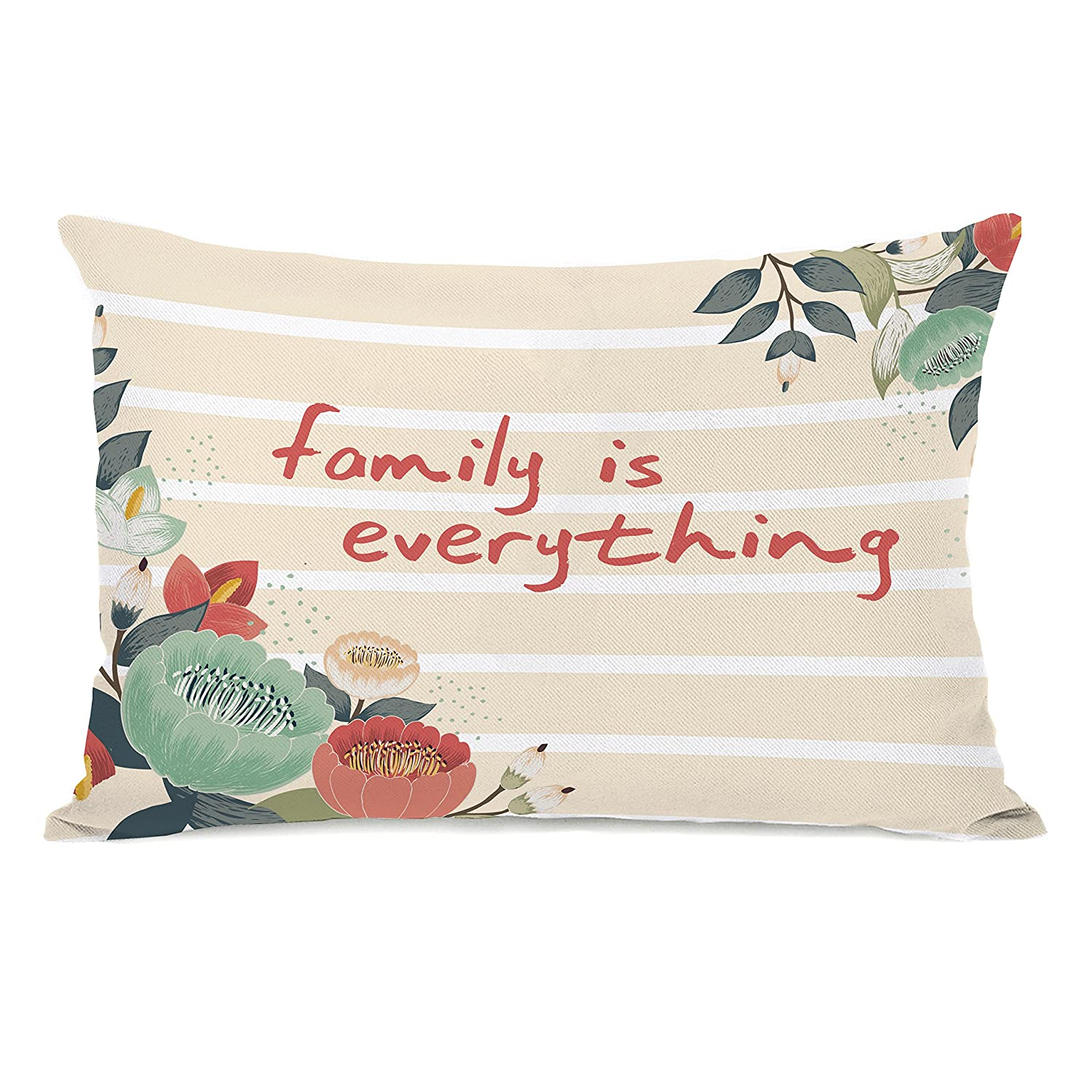 One Bella Casa 74796PL42 'Family Is Everything' Pillow by OBC, Multicolored