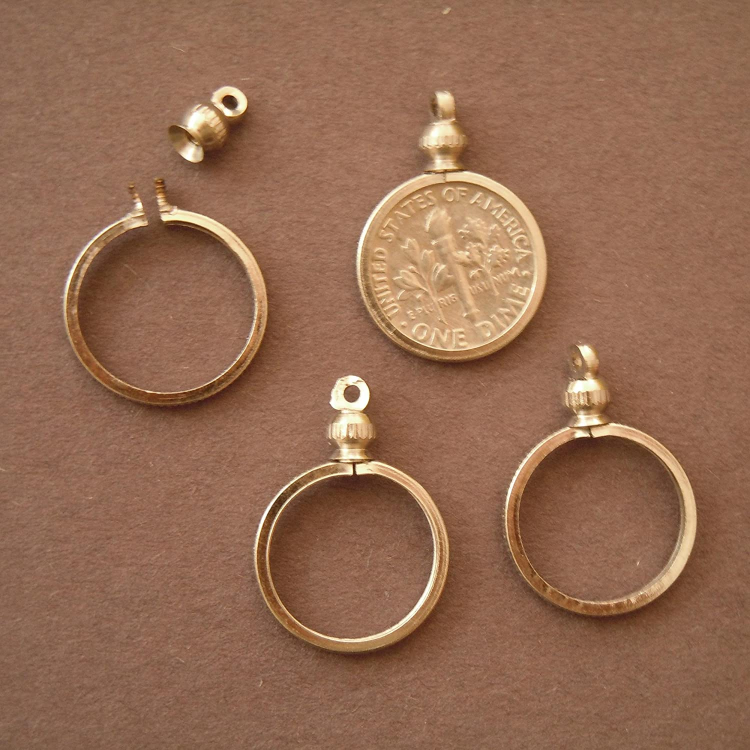 Amazon coin holder bezel for 10 cent usa dime for charm amazon coin holder bezel for 10 cent usa dime for charm necklace pendant display pack of 4 toys games aloadofball Image collections