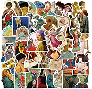 MSOLE 50PCS Famous Art Paintings Stickers for Water Bottles Laptop HydroFlasks Aesthetic Decals for Mac Computer Phone Guitar Luggage