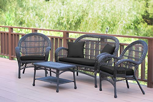 Jeco 4 Piece Santa Maria Wicker Conversation Set with Black Cushions, Espresso