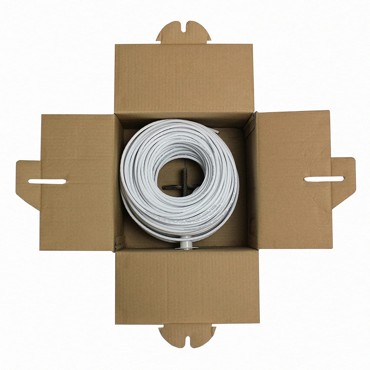 250ft CCA NavePoint CAT5e 24AWG 4 Pair Solid Bulk Ethernet Cable Unshielded Twisted Pair White UTP