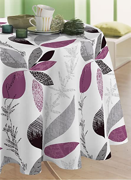 CALITEX Tablecloth Round Polyester 180 X 180 Cm Plum Madeira