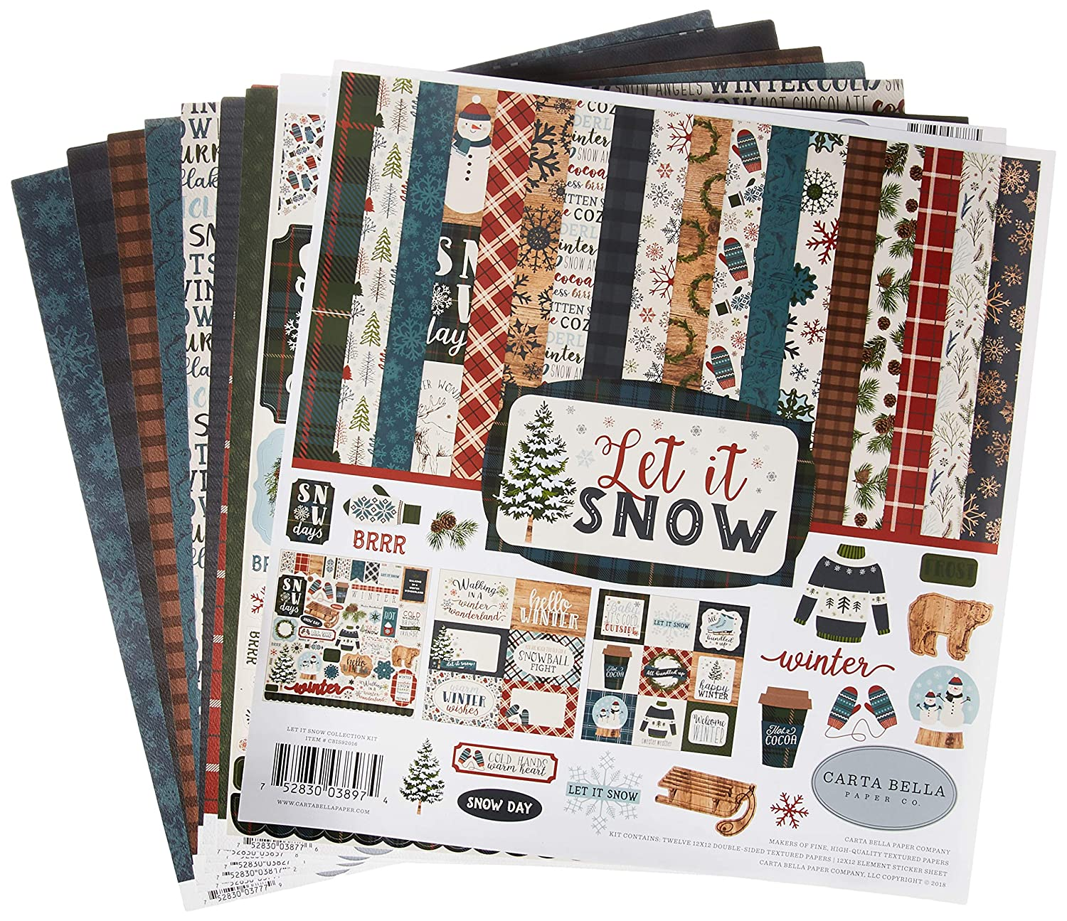 Carta Bella Paper Let It Snow Collection Kit Paper Red//Blue//Navy//Green//White