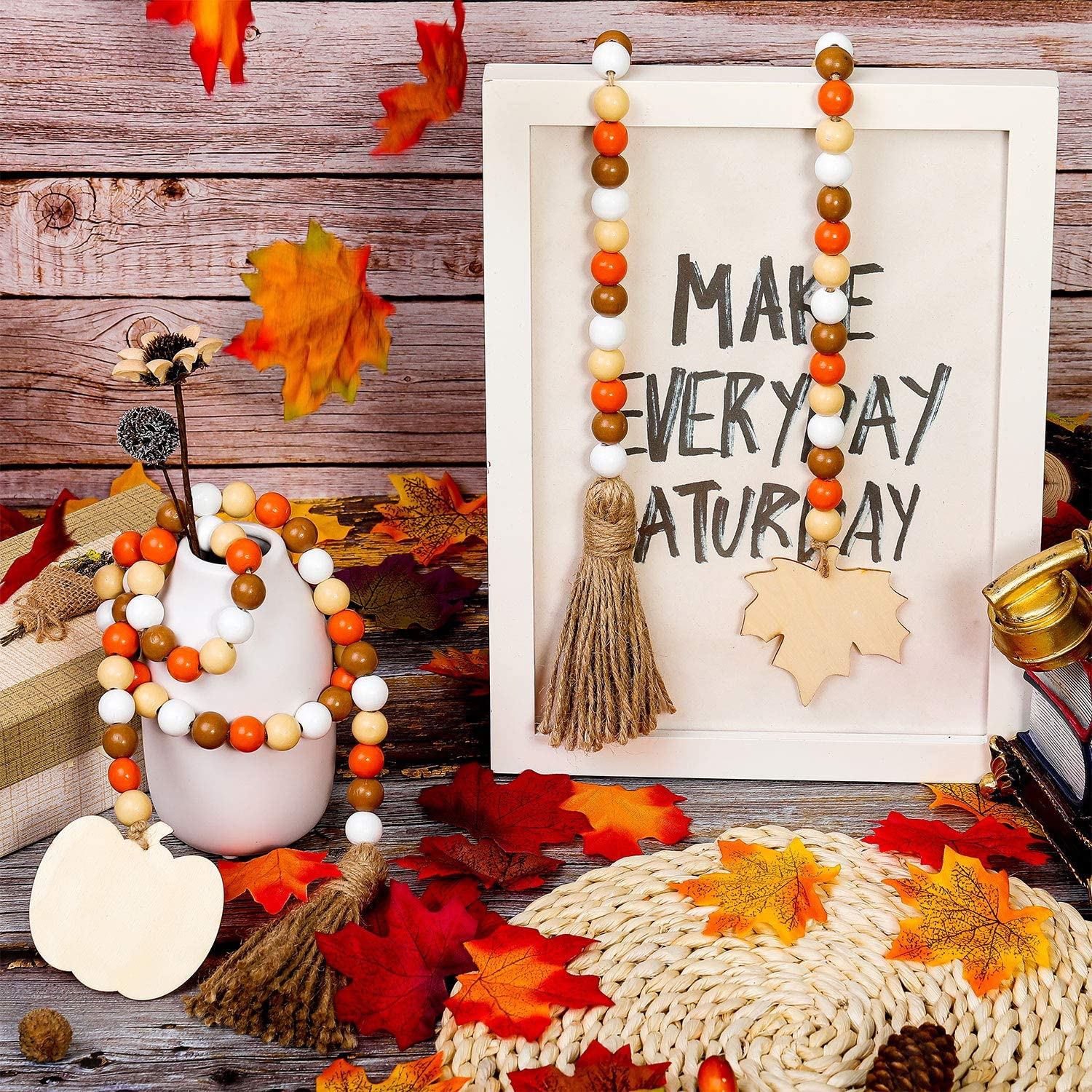 Decorated with Maple Leaves and Pumpkin Beads for Halloween Thanksgiving Party Farmhouse Wall Hanging Decorations WILLBOND Halloween Wooden Bead Garland Wreath with Tassel