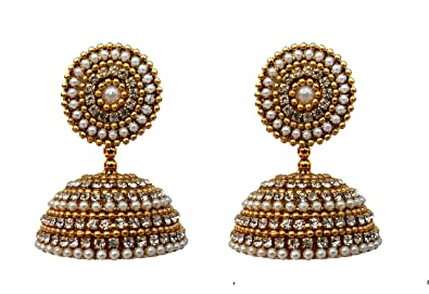 d8f3951b708 Youth Stone and Pearl Fabric Silk Thread Jhumka Earrings for Women(Gold) -  YISTEBIG001