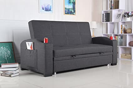 Amazon.com: Best Quality Furniture Dark Gray Woven Fabric ...