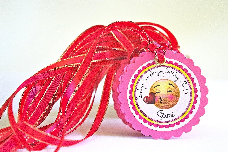 Amazon.com: 12 Custom Gift Tags Emoji Party Theme - Personalized ...