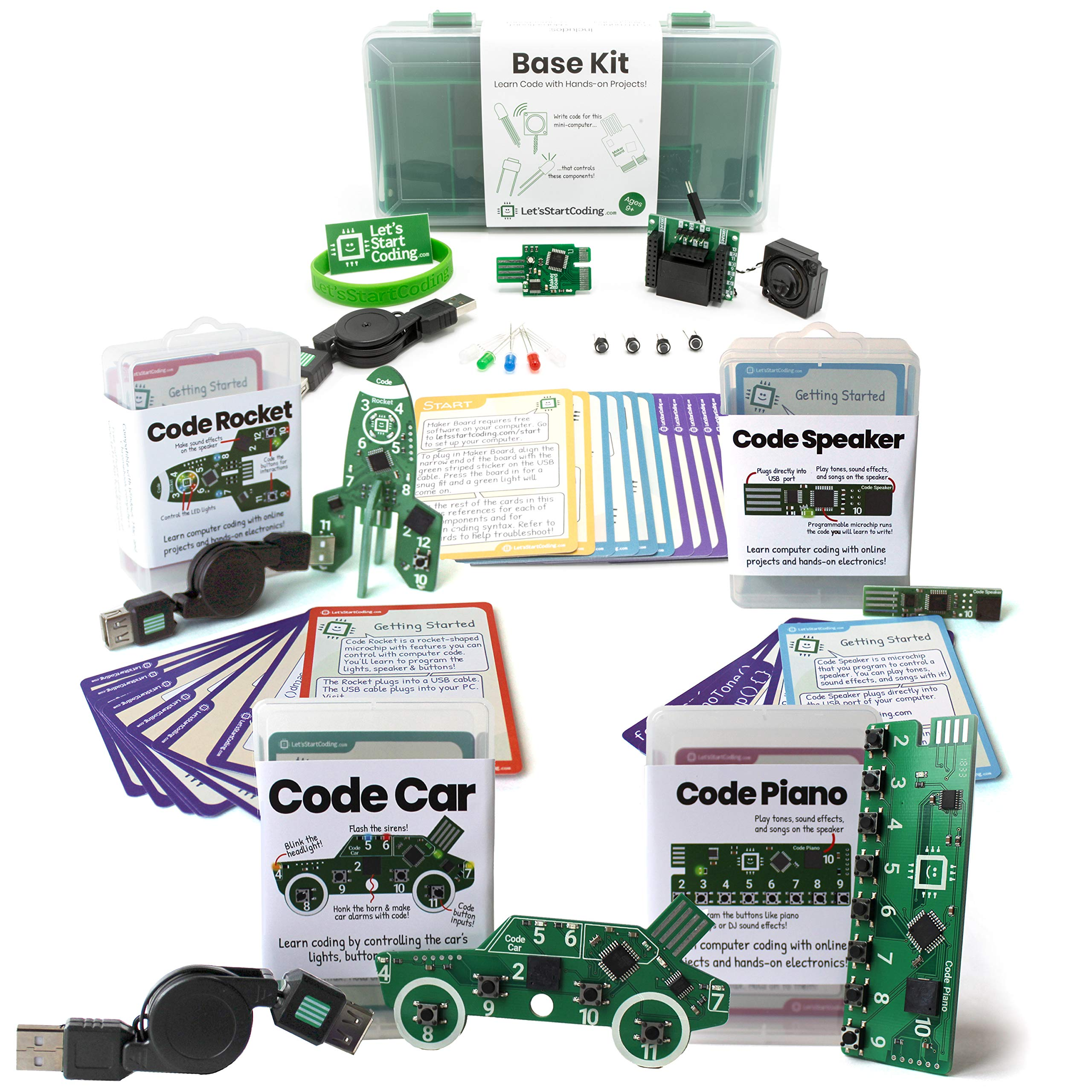 Bundle: Base Kit + Car + Rocket + Piano + Speaker | Coding Kits for Kids 8-12 | Bundle and Save!
