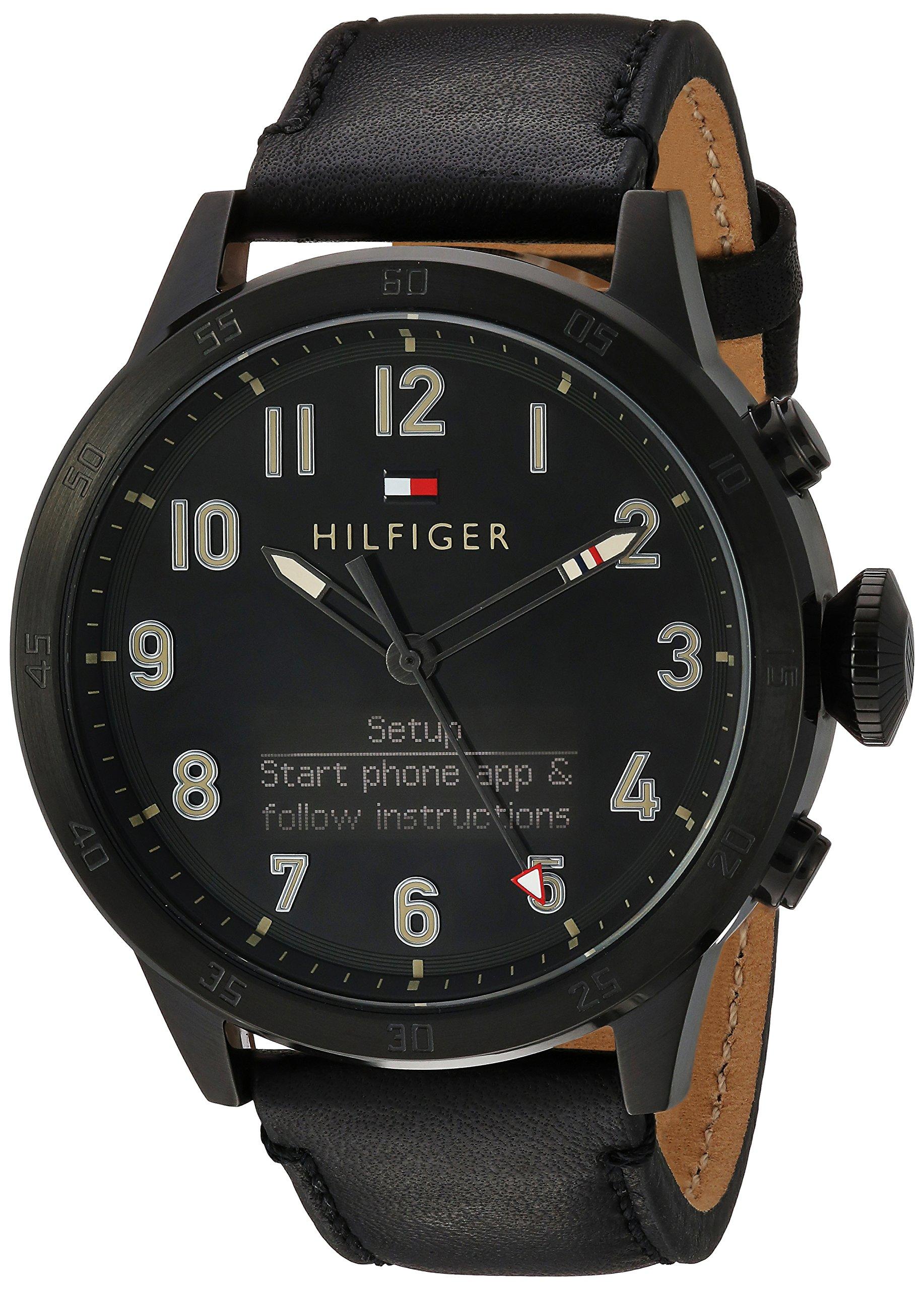 Tommy Hilfiger Men's 'TH 24/7' Quartz Resin and Leather Smart Watch, Color: Black (Model: 1791301) by Tommy Hilfiger