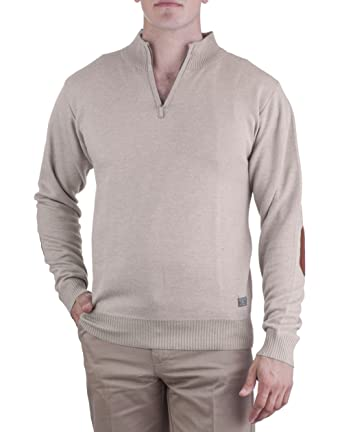 bd5752d6e2df0f Alberto Cardinali Men's Waffle-Knit Half-Zip Sweater 0119 (XLarge, Beige)  at Amazon Men's Clothing store: