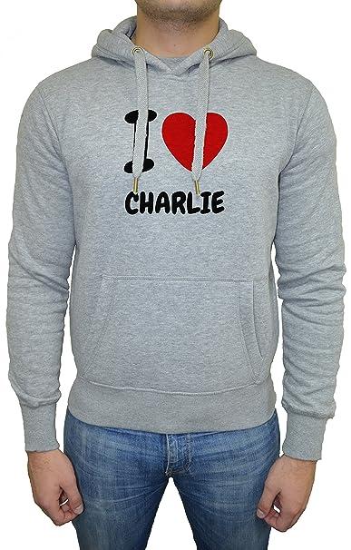 I Love Charlie Hombre Sudadera Sudadera Con Capucha Pullover Gris Todos Los Tamaños | Mens Sweatshirt