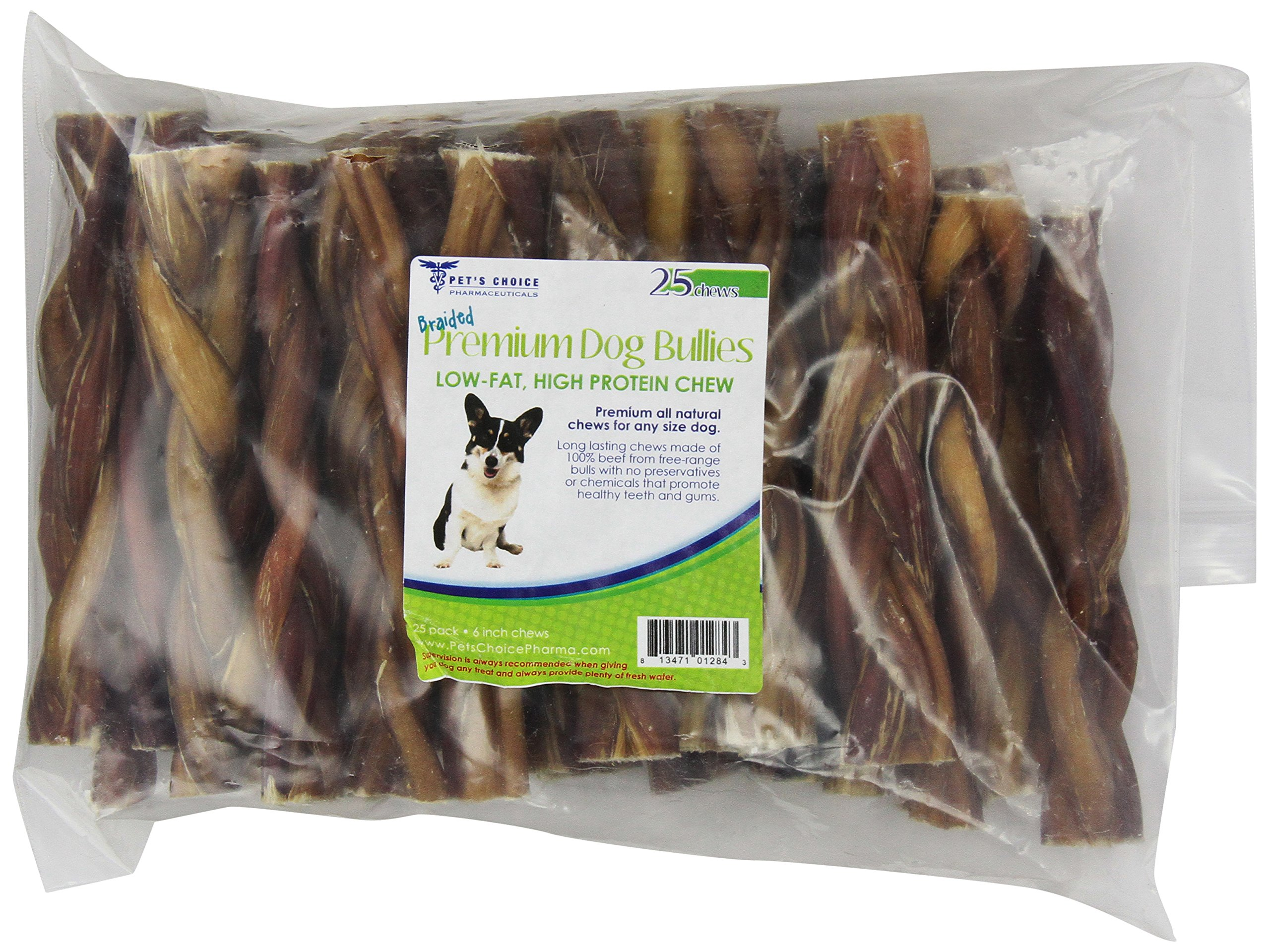 Pet'S Choice 25-Pack Braided Bully Stick, 6-Inch