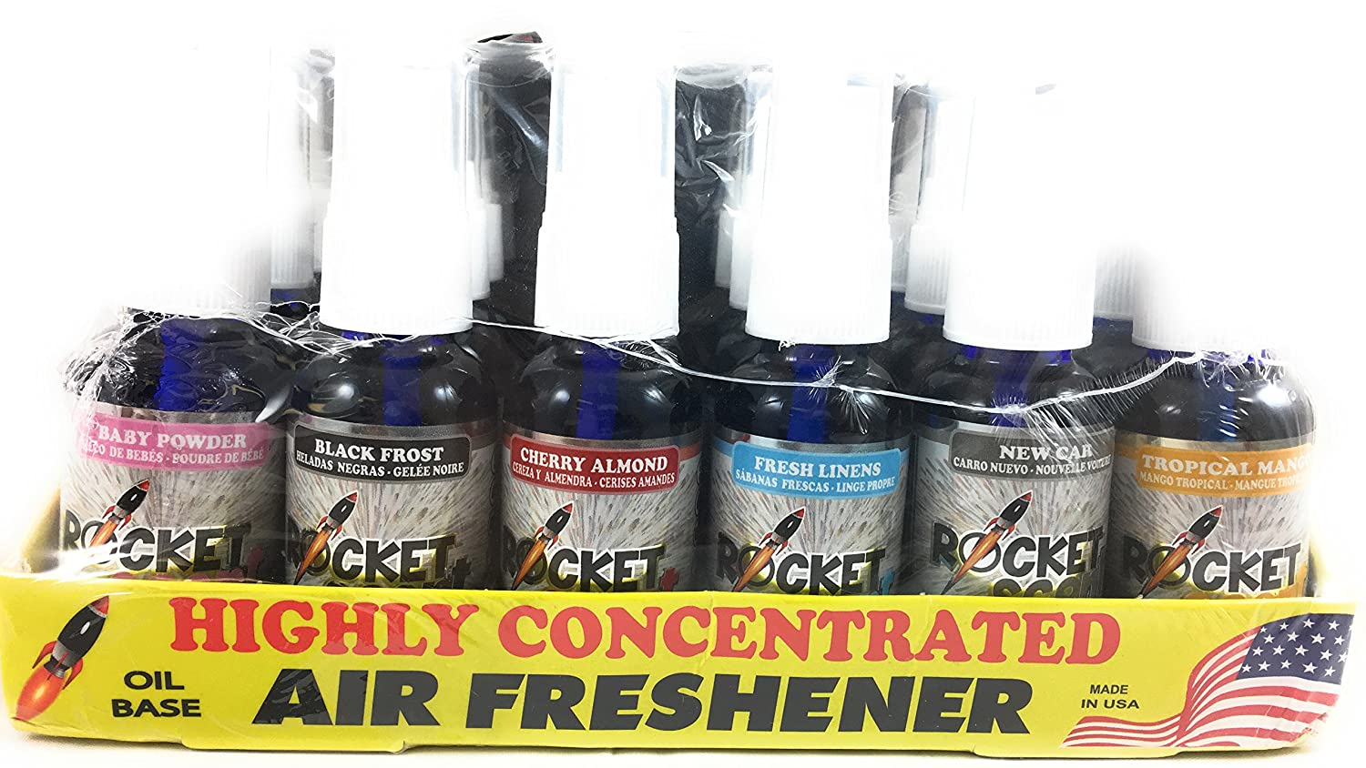 Rocket Scent Air Freshener Oil Base Assorted 24 Pack Baby Powder Black Frost Cherry Almond Fresh Linens New Car and Tropical Mango Use in Vehicles Bathrooms ...