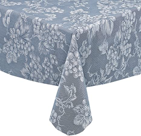 Amazon Com Grapevines Contemporary Grape Print Heavy 4 Gauge Vinyl Flannel Backed Tablecloth Indoor Outdoor Wipe Clean Tablecloth 52 Inch X 70 Inch Oblong Rectangle Blue Home Kitchen