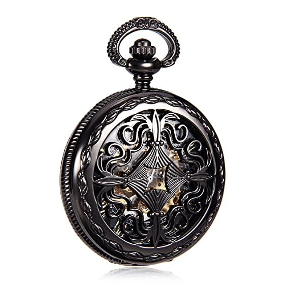 Cool Steampunk Chinese Knot Design Carving Mechanical Mens Hand Wind Pocket Watch Fob Watch Retro Clock