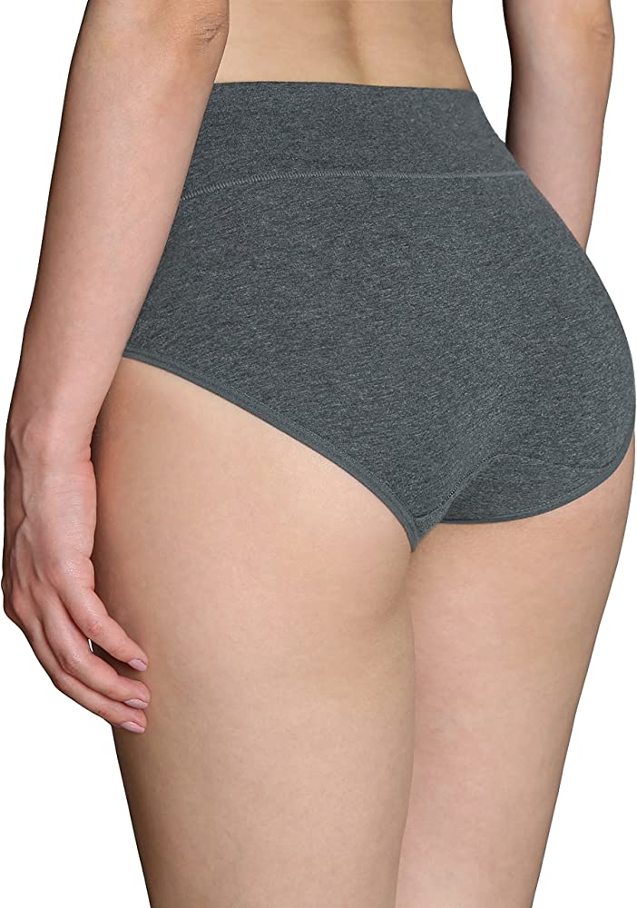 Innersy Women's High Cut Solid Color Tummy Control Cotton Underpants Briefs Multipack