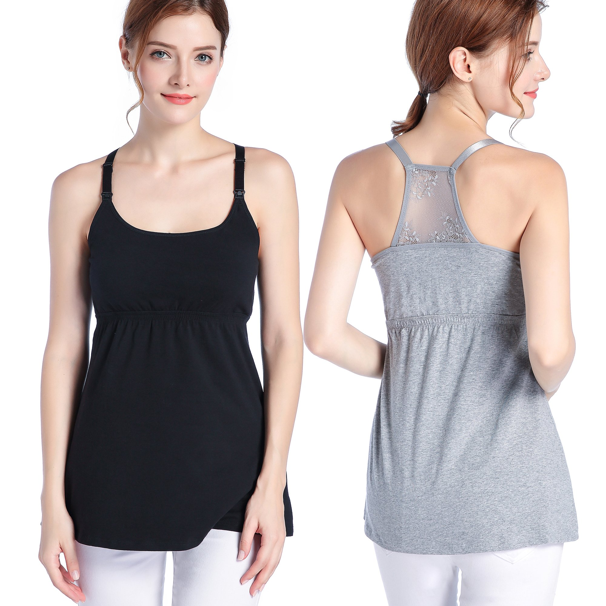TANZKY 3PACK Nursing Tops Tank Cami Maternity Shirt Sleep Bra for Breastfeeding (Large, Black/Grey (2/Pack))
