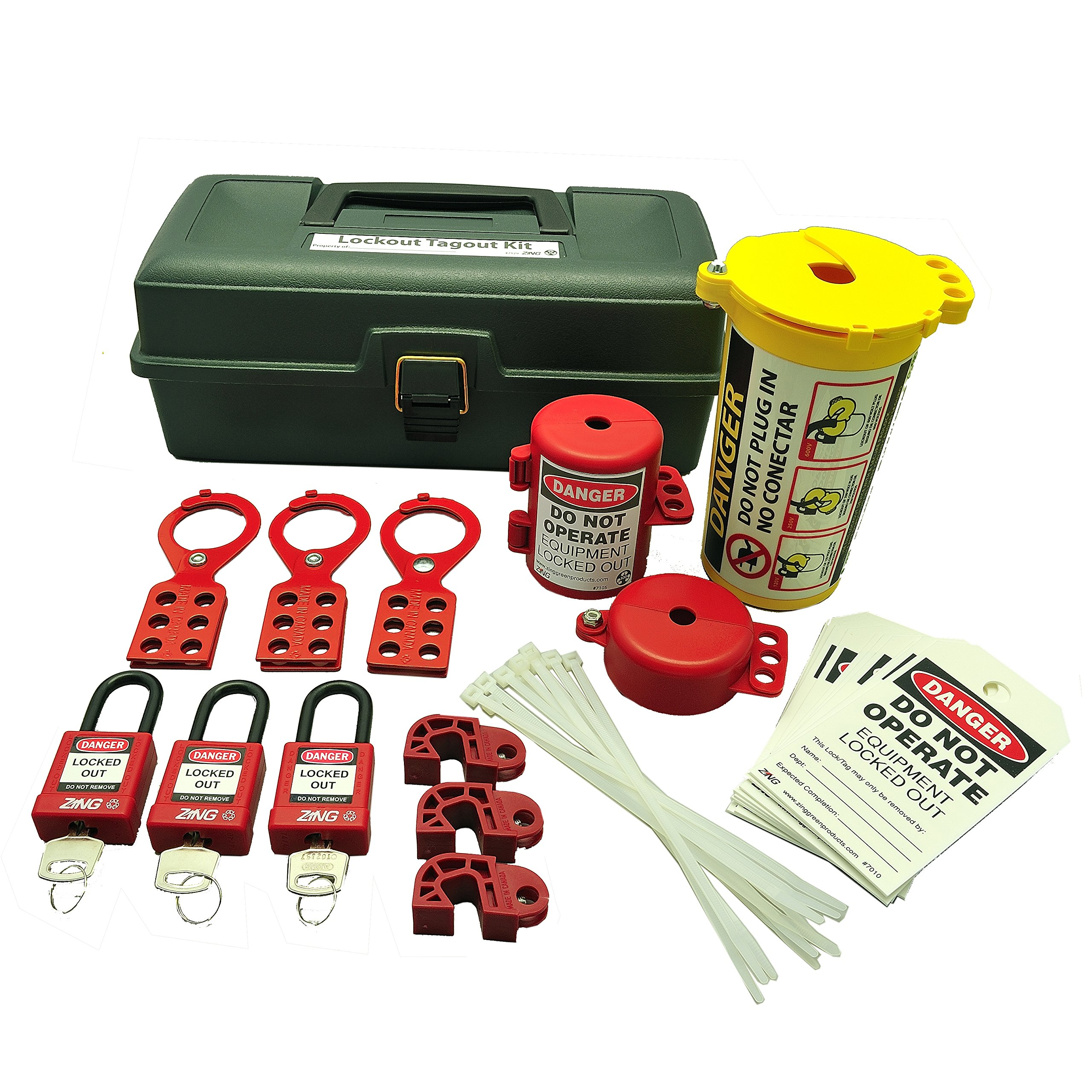 ZING 7129 RecycLockout Lockout Tagout Kit, 32 Component, Deluxe Tool Box by Zing Green Products