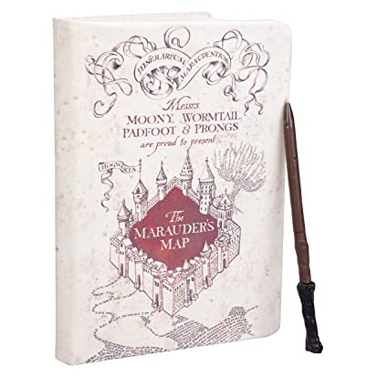 HARRY POTTER Marauders Map Journal with Harry Wand Pen - 192 Blank Pages with Bookmark - 8.5