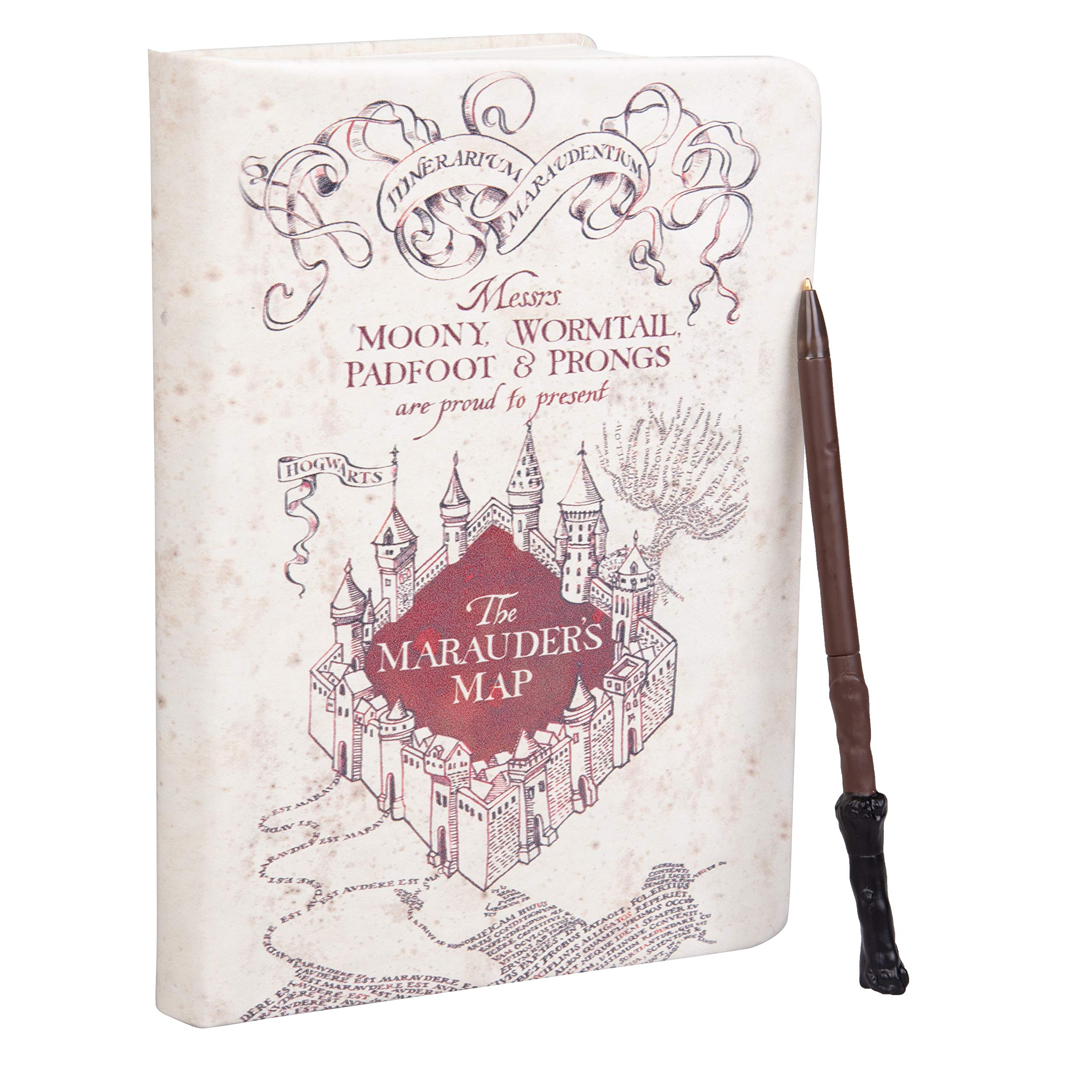 HARRY POTTER Marauder's Map Journal with Harry Wand Pen - 192 Blank Pages with Bookmark - 8.5'' x 6''