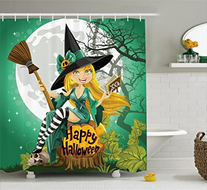 Lunarable Witch Shower Curtain Cheerful Smiling Girl In Halloween Costume On A Pumpkin Giant Moon