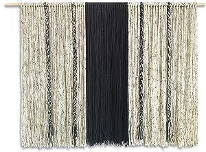 KRASKA Large Macrame Wall Hanging, 59Wx42L inch Yarn Wall Hanging Boho, Wall Decor Bohemian Decoration Living Room, Apartment Decor Curtains Tapestry Backdrop Extra Wide, Gray