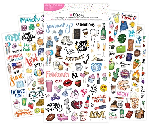 Bloom Daily Planners New Holiday Seasonal Planner Sticker Sheets   Seasonal Sticker Pack   Over 310 Stickers Per Pack! by Bloom Daily Planners
