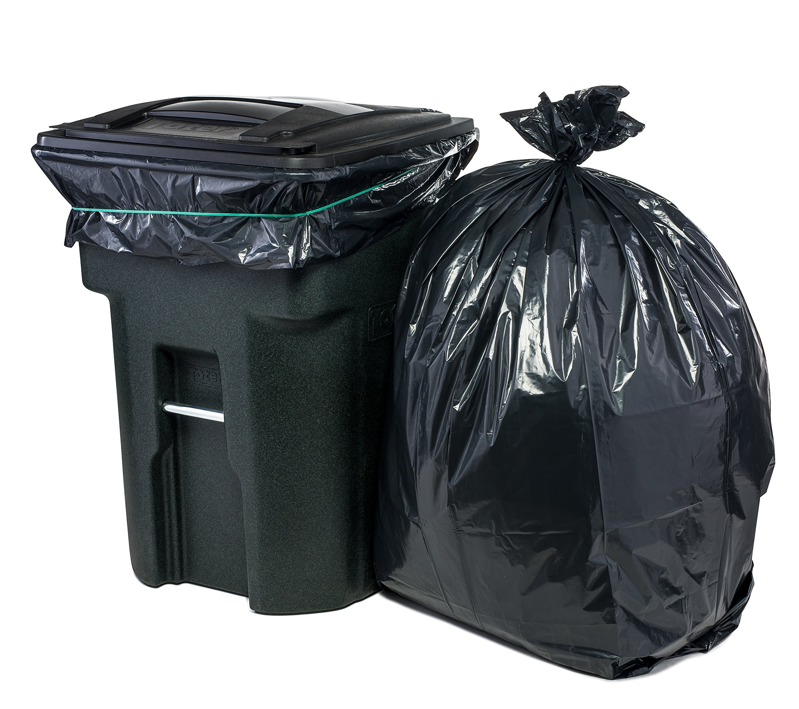 Plasticplace 95 Gal Trash bags, Black, 2 Mil, 61x68, 25 Bags per Case by Plasticplace (Image #1)