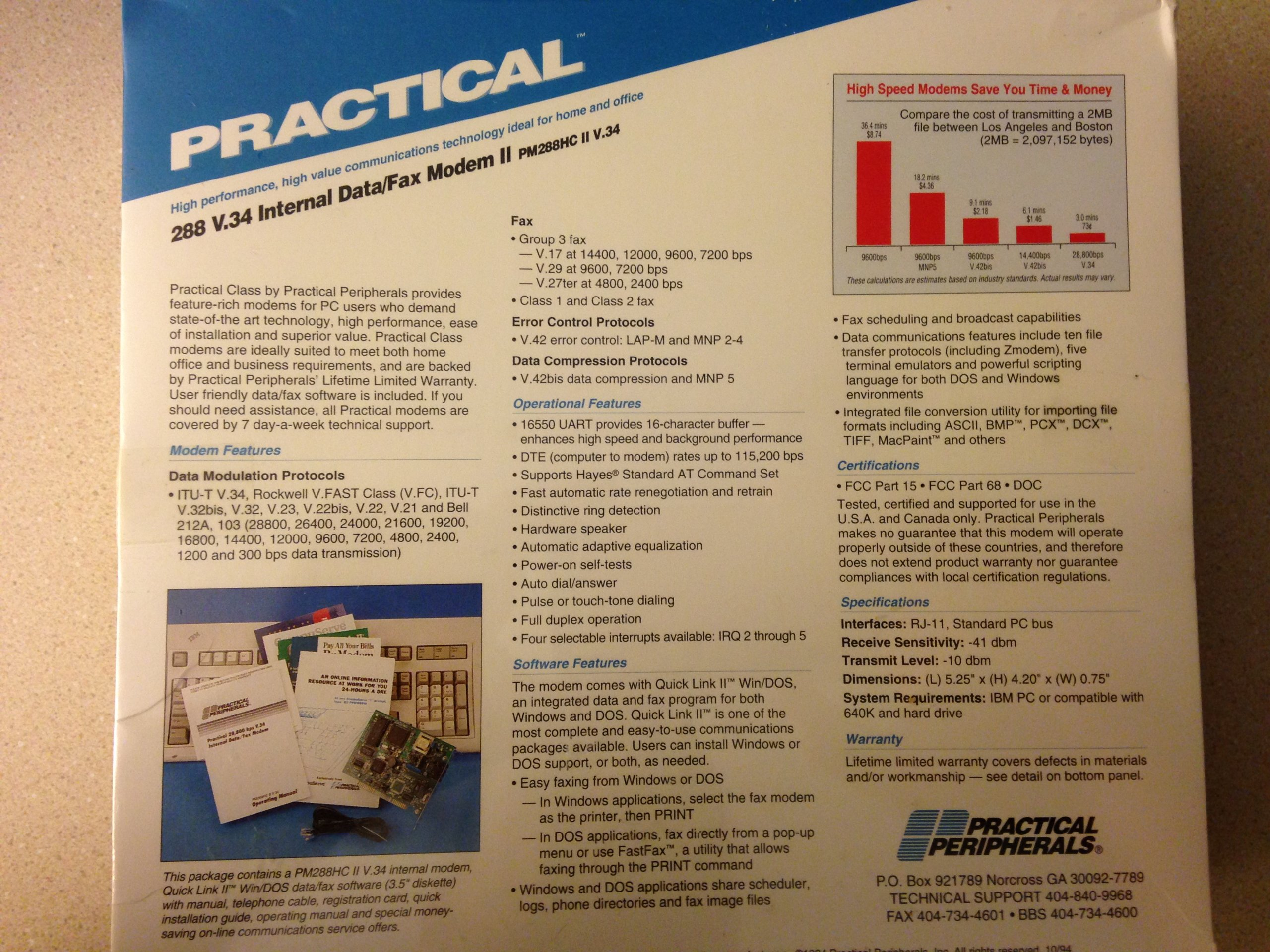 Practical Peripherals 288 V.34 Internal Data / Fax Modem 2 by Practical Peripherals, Inc. (Image #2)