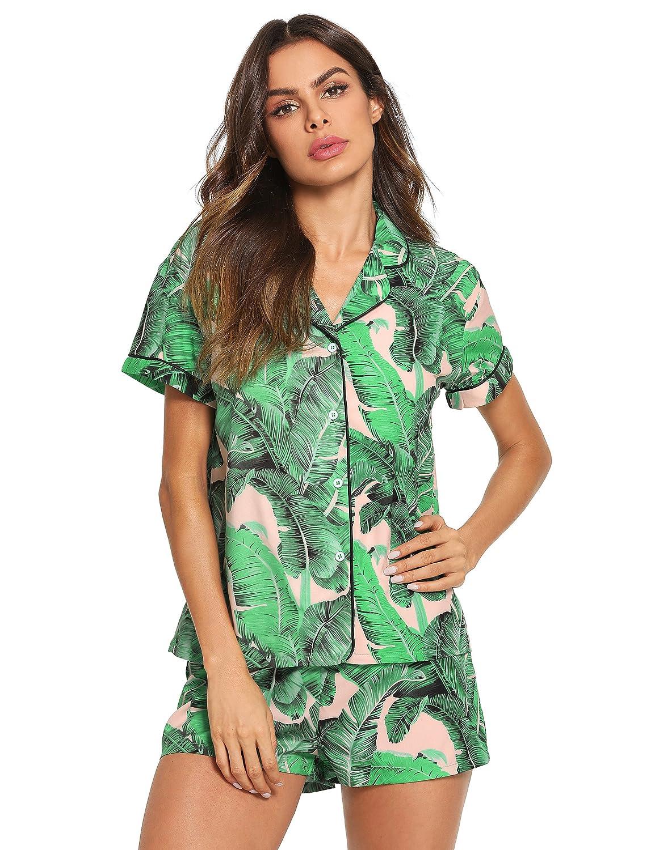 Amulti Floerns Women's Notch Collar Shorts Loose Sleepwear Two Piece Pajama Set