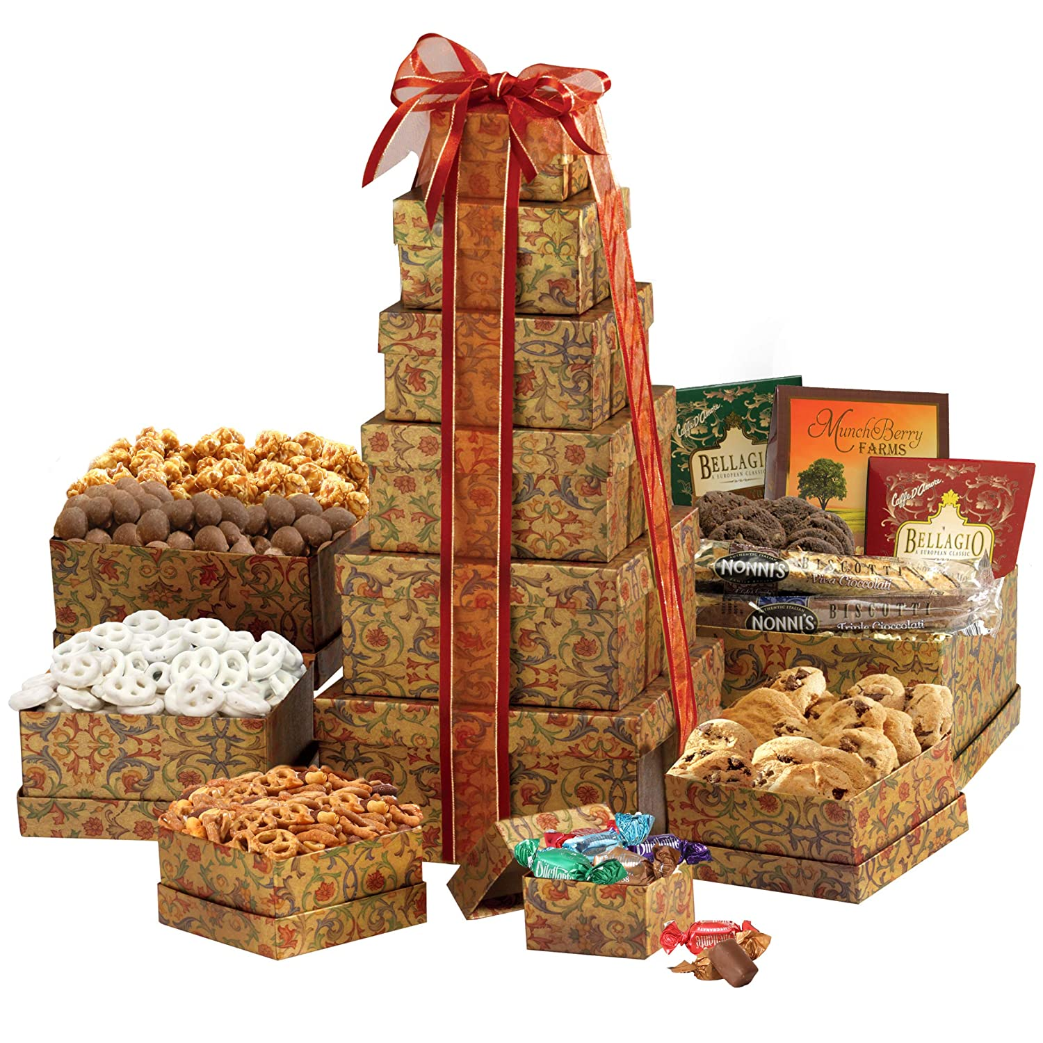 Amazon Broadway Basketeers The Ultimate Happy Birthday Gift Tower Gourmet Snacks And Hors Doeuvres Gifts Grocery Food