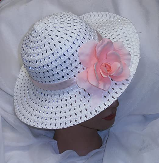 Amazon.com  Girls Spring Hat Easter Hat White w Pink Rose  Clothing 2e51dbcbdc51