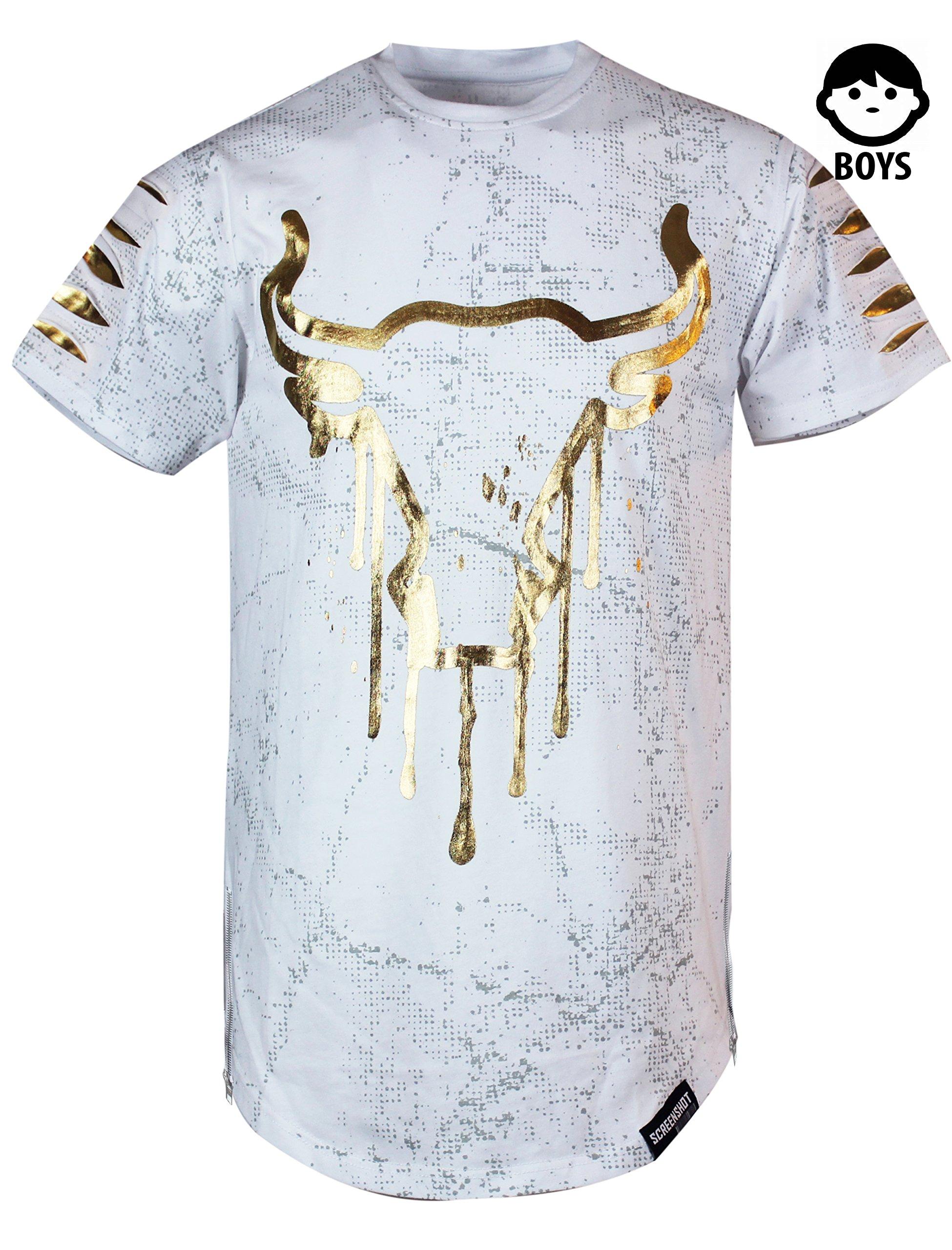 SCREENSHOTBRAND-S11702BY Boys Hipster Hip-Hop Premiun Tees - Stylish Latest Fashion T-Shirts - Drip Bull Print-White-Medim