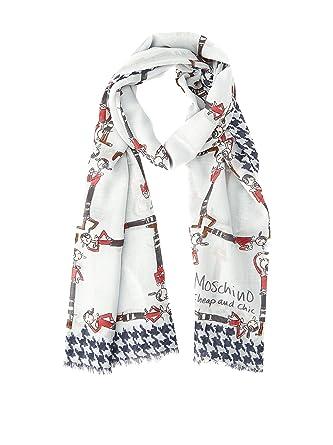 Moschino cheap   chic écharpe Blanc 70 x 180 cm  Amazon.fr ... ffc9f542cad4