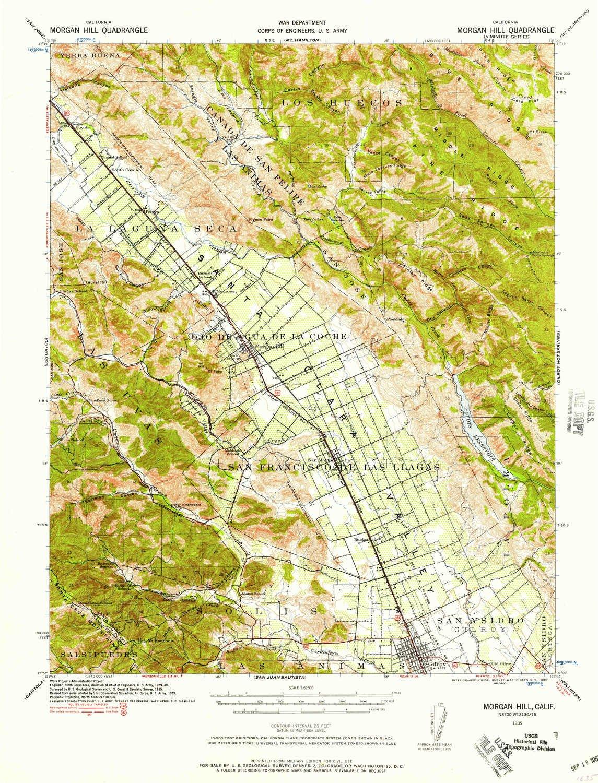 Amazon.com: YellowMaps Morgan Hill CA topo map, 1:62500 Scale, 15 X ...