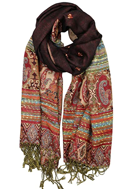 0777cc25dbef0 Achillea Reversible Bohemian Paisley Pashmina Ethnic Tribal Border Shawl  Wrap Scarf (Black)