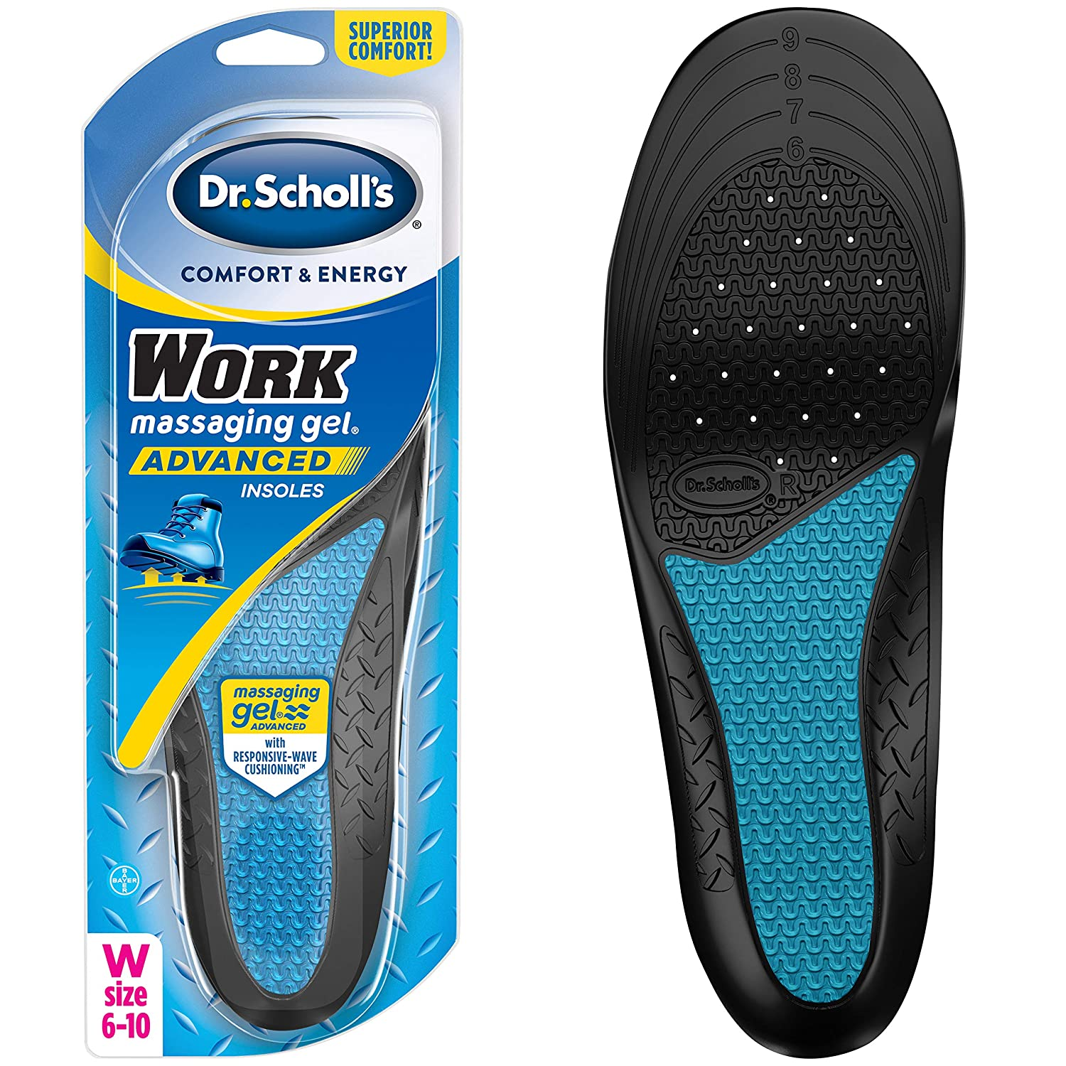 Dr. Scholl's WORK Insoles // All-Day Shock Absorption and Reinforced Arch Support that Fits in Work Boots and More (for Women's 6-10)