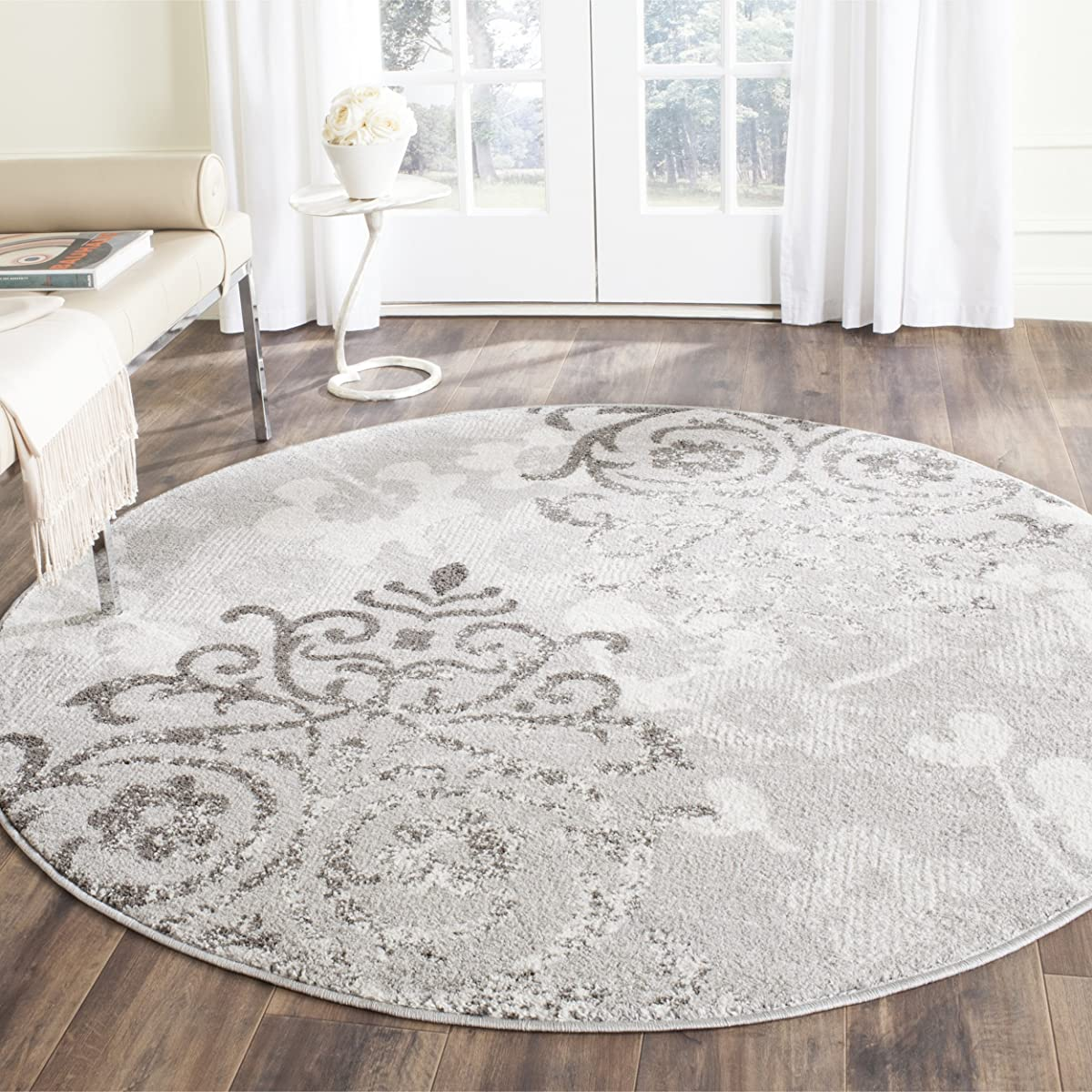 Safavieh Adirondack Collection ADR114B Silver and Ivory Contemporary Chic Damask Round Area Rug (6 Diameter)