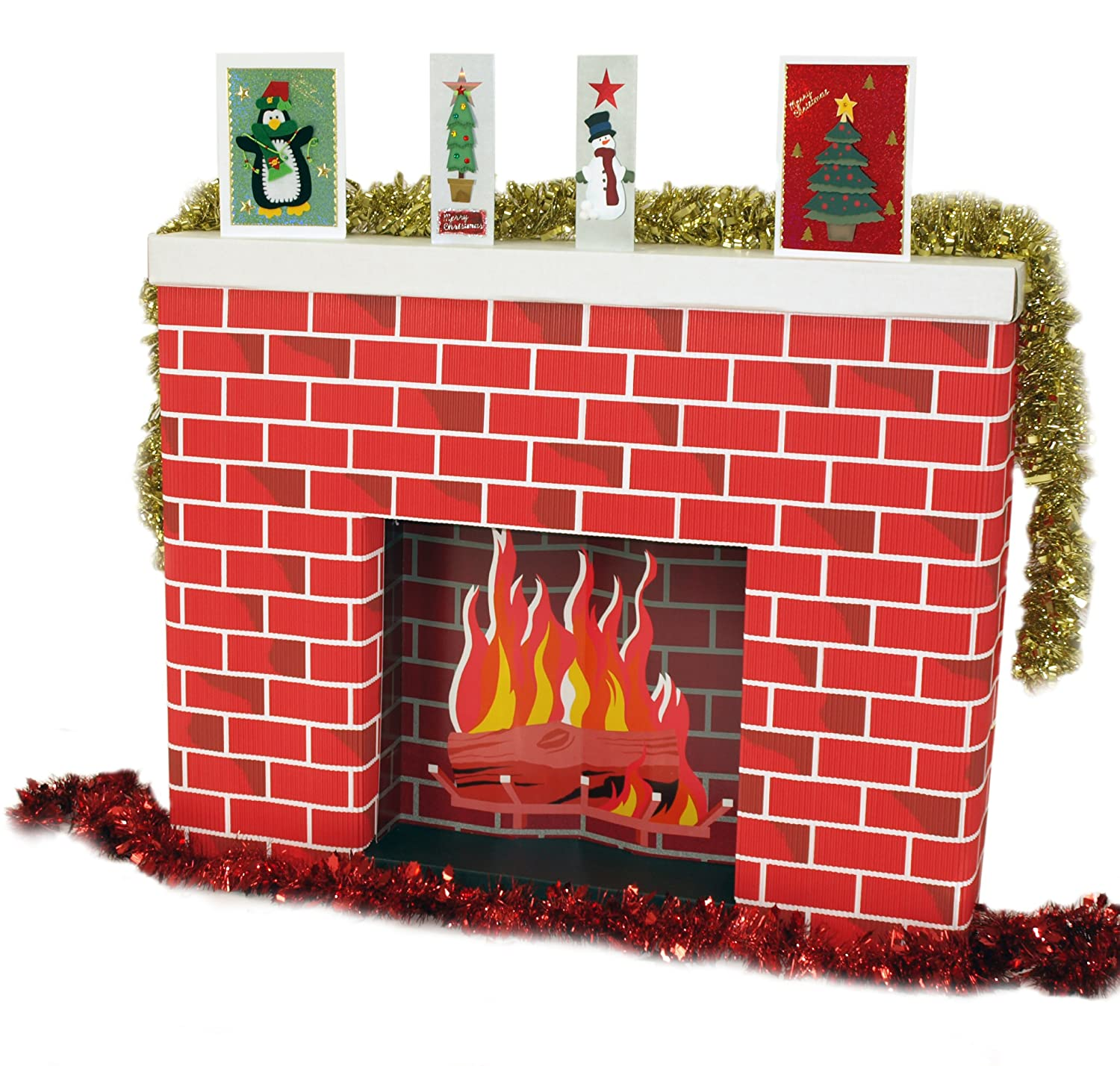 corrugated cardboard 3 dimensional life size fireplace 965 x 175 x