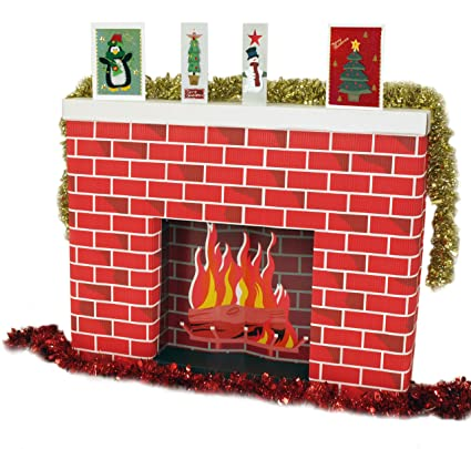 Cardboard Christmas Fireplace.Corrugated Cardboard 3 Dimensional Life Size Fireplace 965 X 175 X 762mm Supplied Flatpack Great Christmas Accessory To A Santa Scene And Festive
