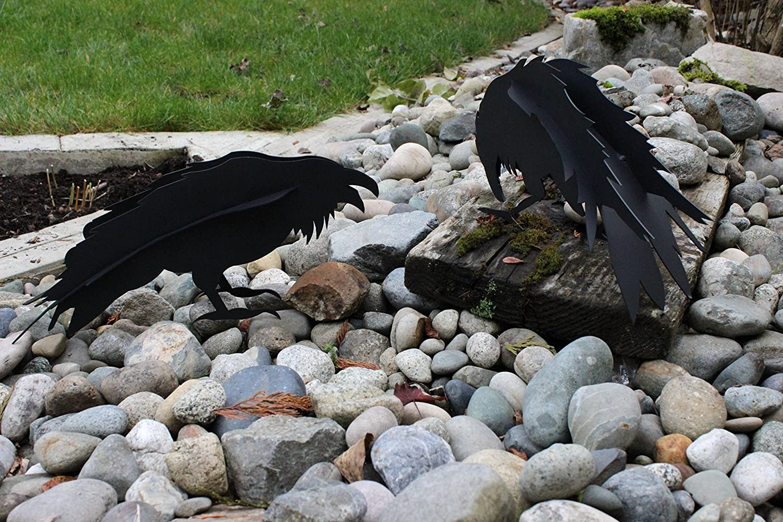 Pair of Welded Ravens or Crows Outdoor or Indoor Sculptures by Ideal Garden