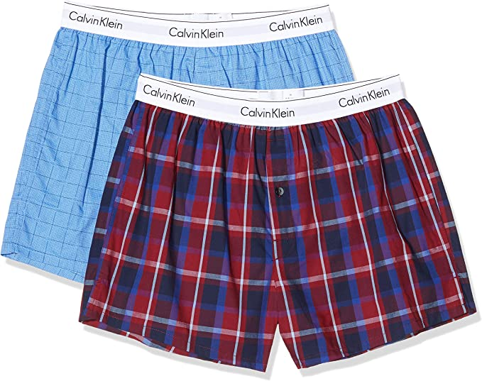 Calvin Klein Boxer Slim 2pk, Azul (Box Square Print/Farm Plaid Zvx), Large (Pack de 2) para Hombre: Amazon.es: Ropa y accesorios