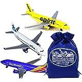 Daron Southwest, JetBlue & Spirit Airlines Die-cast Planes Gift Set Bundle with Bonus Matty's Toy Stop Storage Bag - 3…