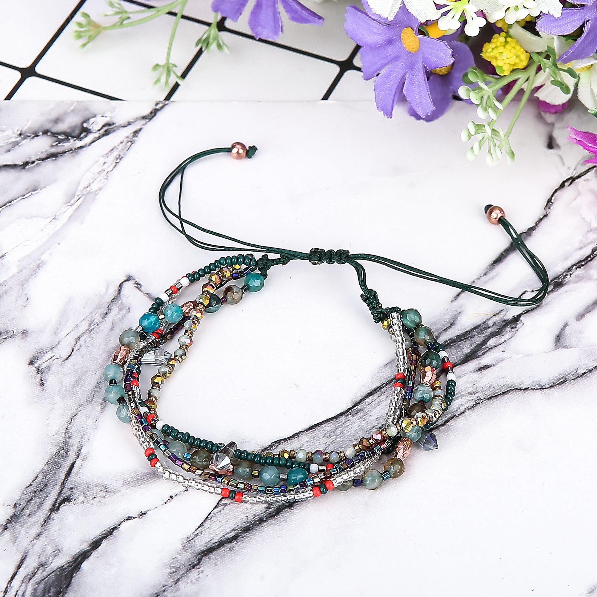 Joya Gift Adjustable Wrap Bracelet Bohemian Braided Beads Summer Beach Anklet for Women Girls by Joya Gift (Image #7)