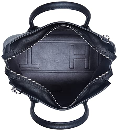 Tommy Hilfiger Charming Tommy Satchel, Bolso Totes para Mujer, Negro (Black),