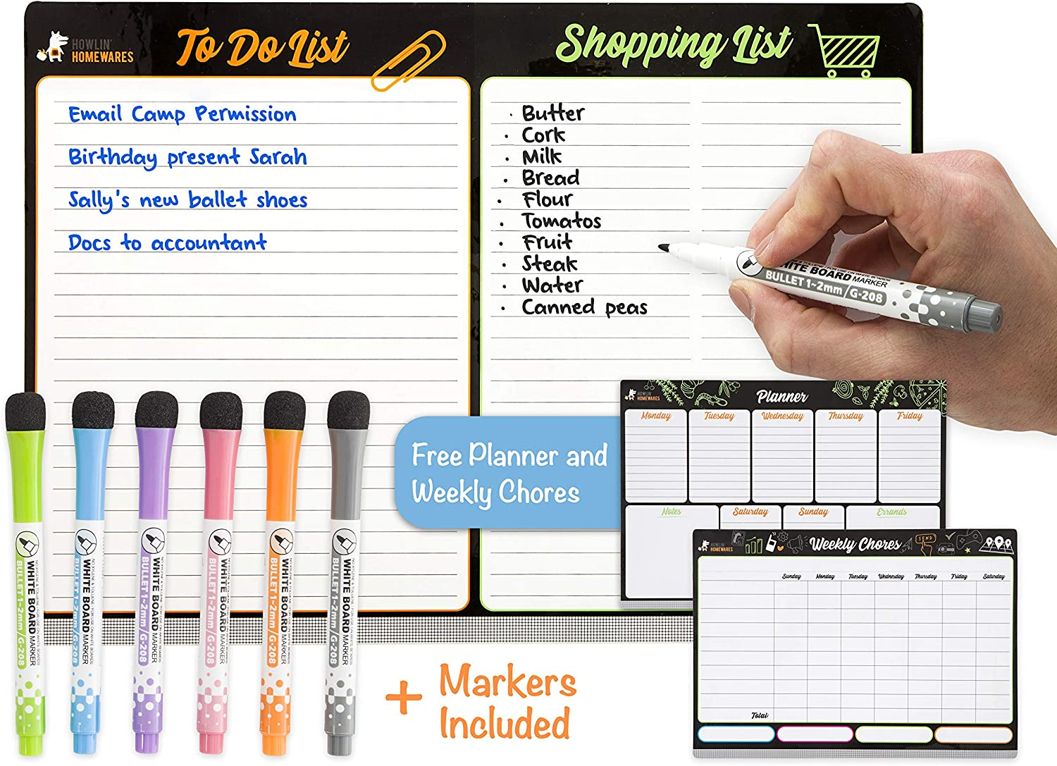 Howlin' Homewares Magnetic Dry Erase Board for Refrigerator - Weekly Planner, Weekly Chores, To Do List and Shopping List for Kitchen Fridge with Six Magnetic Fine Tip Pens with Eraser (8.27 × 11.69)