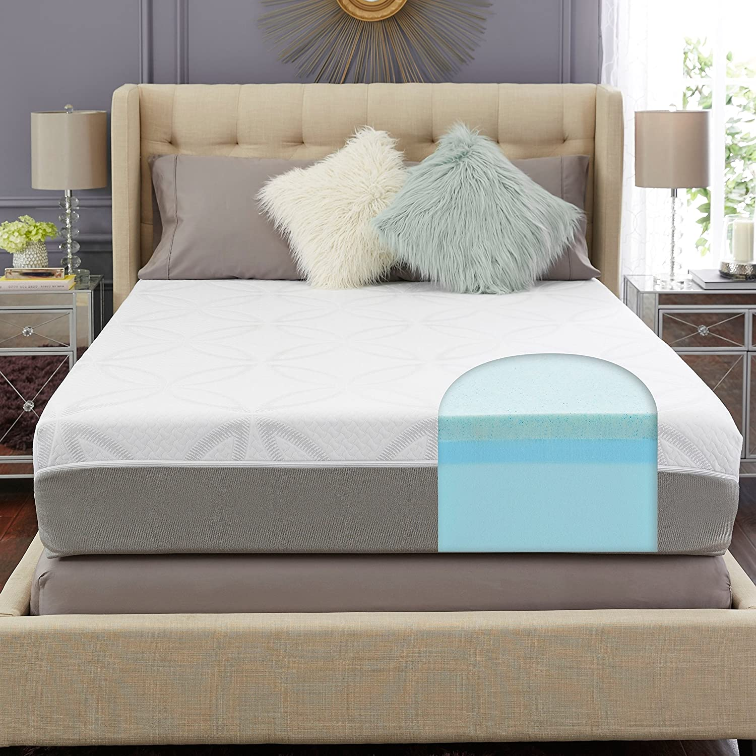 amazon com trupedic 12 inch queen gel memory foam mattress firm