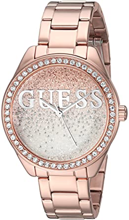GUESS Womens Stainless Steel Crystal Casual Watch, Color: Rose Gold-Tone (Model