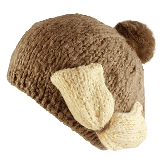 7125f0687 Amazon.com: Morehats Bow Faux Rabbit Fur Pom Pom Knit Handmade ...