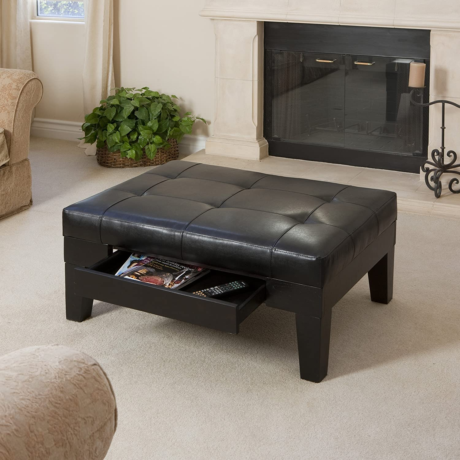 Amazon Tucson Black Leather Tufted Top Coffee Table w Drawer
